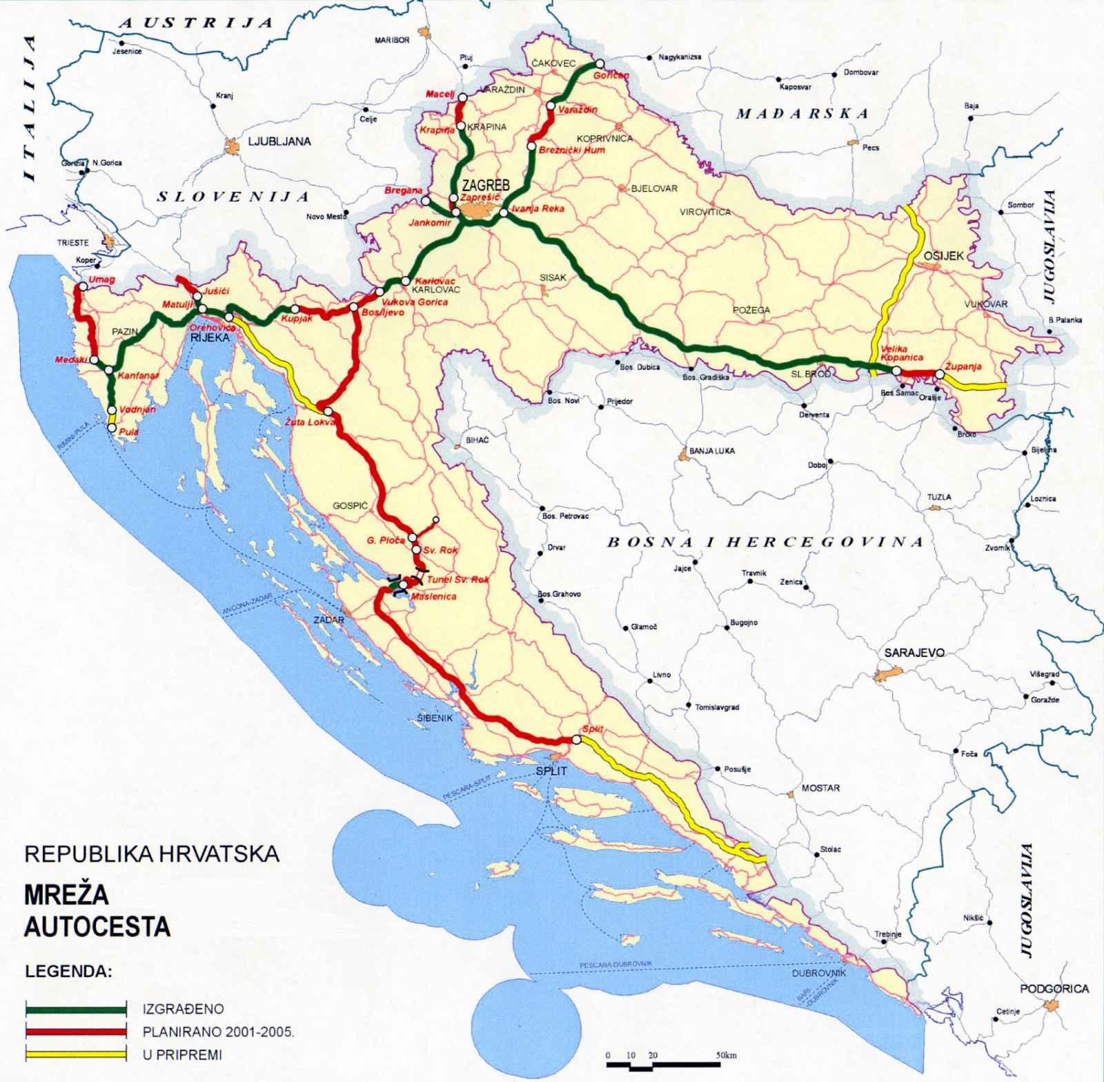 Hrvatska Karta Ceste Karta